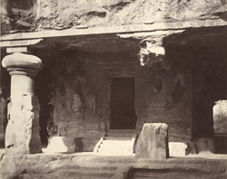 Facade of rock-cut temple, Elephanta, Bombay